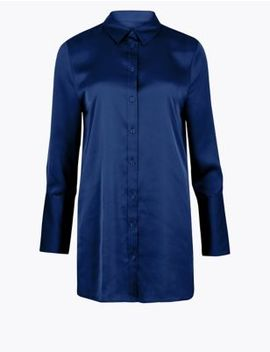 Satin Longline Shirt by Marks & Spencer