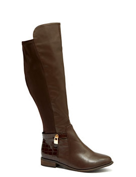 Brown Stretch Riding Boots   Wide Width by Fashion To Figure