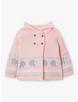 John Lewis & Partners Heirloom Collection Baby Knitted Hooded Cardigan, Pink by John Lewis & Partners Heirloom Collection