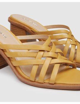 Saint Mid Heel Slides Mustard Leather by Jo Mercer