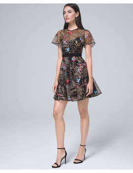 Floral Embroidered Fit And Flare Dress by Whbm