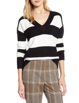 X Atlantic Pacific Stripe V Neck Sweater by Halogen®