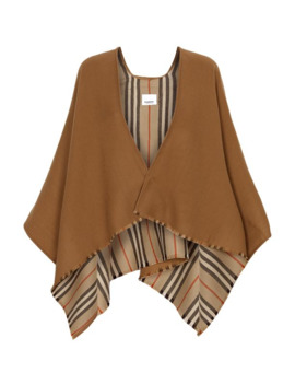 Icon Stripe Wool Cape by Burberry