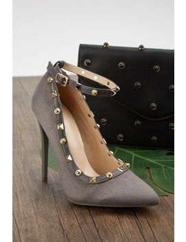 Studded Ankle Strap Heeled Pumps by Everything5 Pounds