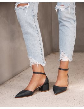 Halsey Low Heels Navy Leather by Jo Mercer