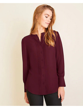 Pintucked Mixed Media Top by Ann Taylor