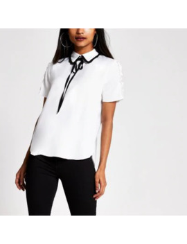 Petite White Contrast Bow Collar Top by River Island