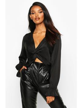 Satin Twist Front Long Sleeve Blouse by Boohoo