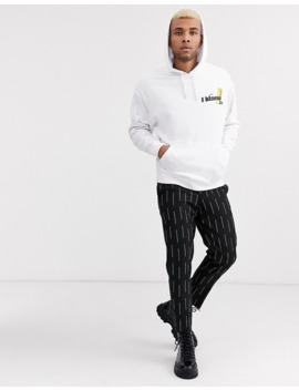 Asos Design Oversized Hoodie In White With Milano Print by Asos Design