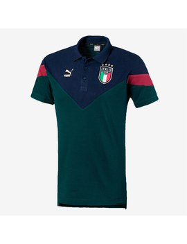 Puma Italy 19/20 Iconic Mcs Polo   Ponderosa Pine/Peacoat by Pro Direct Soccer