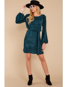 Right About It Dark Teal Chenille Sweater Dress by Hyfve