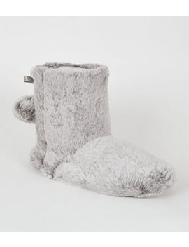 Grey Faux Fur Boot Slippers by New Look
