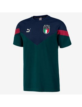Puma Italy 19/20 Iconic Mcs T Shirt   Ponderosa Pine/Peacoat by Pro Direct Soccer