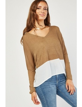 Chiffon Contrast V Neck Knit Top by Everything5 Pounds