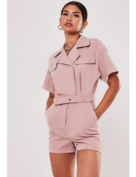 Rose Utility Short Sleeve Popper Playsuit by Missguided