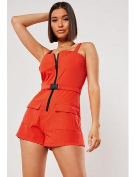 Red Utility Belted Cami Zip Front Playsuit by Missguided