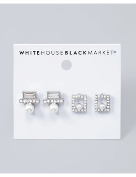 Glass Pearl & Pave Abstract Stud Earring Set by Whbm