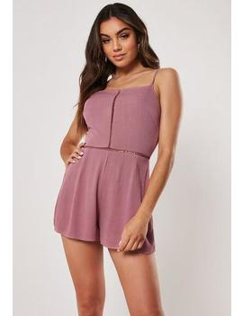 Mauve Ladder Trim Cami Playsuit by Missguided