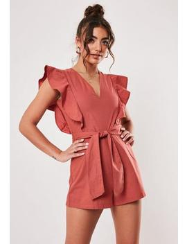 Red Linen Look Frill Tie Waist Playsuit by Missguided