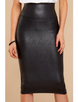Black Faux Leather Pencil Skirt by Spanx