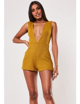 Mustard Plunge Bandage Playsuit by Missguided
