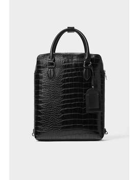 Mochila Shopper Negra Grabado Animal by Zara