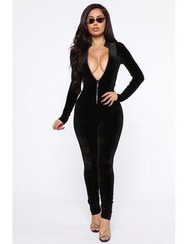 In Your Dreams Velvet Jumpsuit   Black by Fashion Nova