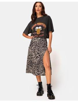 Saika Midi Skirt In Leopard Grey By Motel by Motel