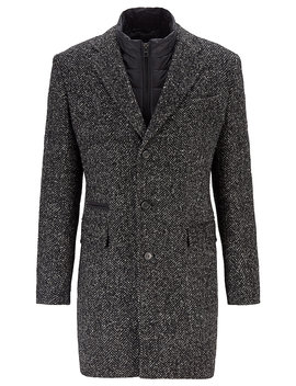 Slim Fit Herringbone Coat With Detachable Inner Bib by Boss