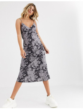 Motel Satin Midi Cami Dress In Tie Dye by Motel