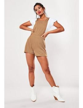 Sand Dungaree Playsuit by Missguided