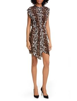 Cipriana Leopard Print Asymmetrical Silk Dress by L'agence
