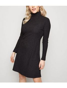 Petite Dark Grey Ribbed Roll Neck Dress by New Look