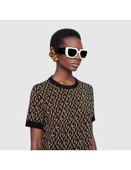 G Rhombus Lamé Wool Jacquard Sweater by Gucci