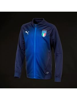 Puma Youths Figc Italia Stadium Jacket   Peacoat/Team Power Blue by Pro Direct Soccer