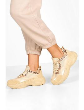 Snake Panel Chunky Sole Trainers by Boohoo