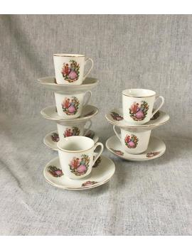 Vintage Porcelain Courting Couple Demitasse Set, 6 Cups And Saucers by Etsy