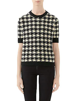 Houndstooth Cashmere & Silk Short Sleeve Sweater by Gucci