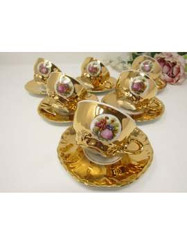 Bondware Porcelain Tea Set, Fragonard Fine China, Vintage Coffee Set, Gold Lustre Cups And Saucers, Tea Cup Duos, Afternoon Tea by Etsy