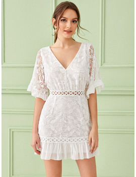 SheinSolid Ruffle Trim Lace Insert Zip Back Dress by Sheinside