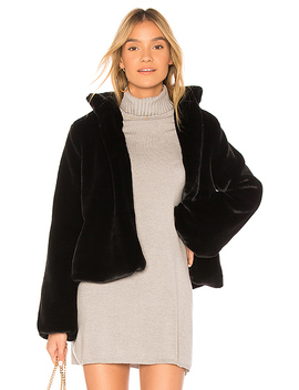 Inori Faux Fur Jacket In Black by Tularosa