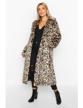 Plus Leopard Faux Fur Longline Coat by Boohoo