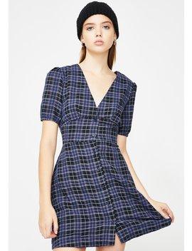 Blue Checkered Mini Dress by Glamorous