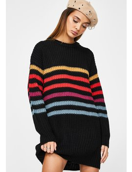 Black Move On Up Sweater Dress by Volcom