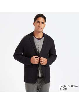 Wool Blended Knit Jacket by Uniqlo