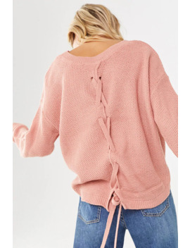 Lace Up Waffle Knit Sweater by Forever 21