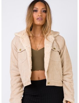 Dax Delevingne Sherpa Jacket Beige by Princess Polly