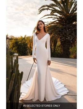 Bianca Embellished Inset Long Sleeve Crepe Trumpet Wedding Dress by Pronovias