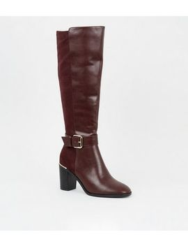 Dark Red Leather Look Heeled Knee High Boots by New Look