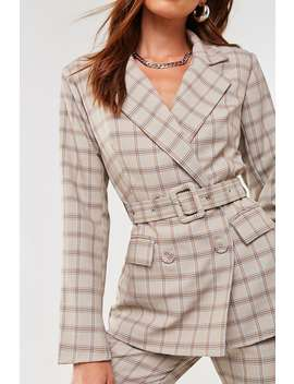 Plaid Belted Blazer by Forever 21